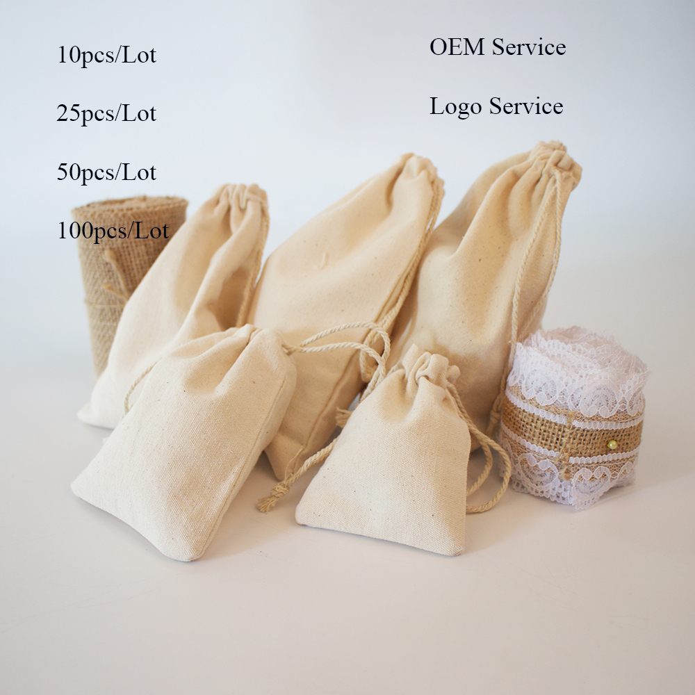 50pcs/Lot Drawstring Natural Canvas Bag 7x9 9x12 10x15 13x18 15x20 Jewlery Packing Pouch Can Do Logo And Customized