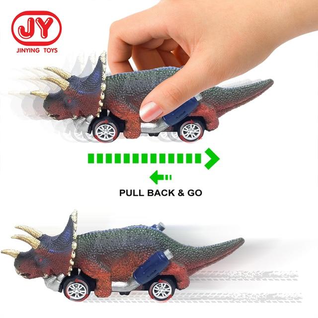 6 Pcs Pull Back Dinosaur Cars Roadster Party Favors Race Go-Kart Sports Games Kids Toys 2