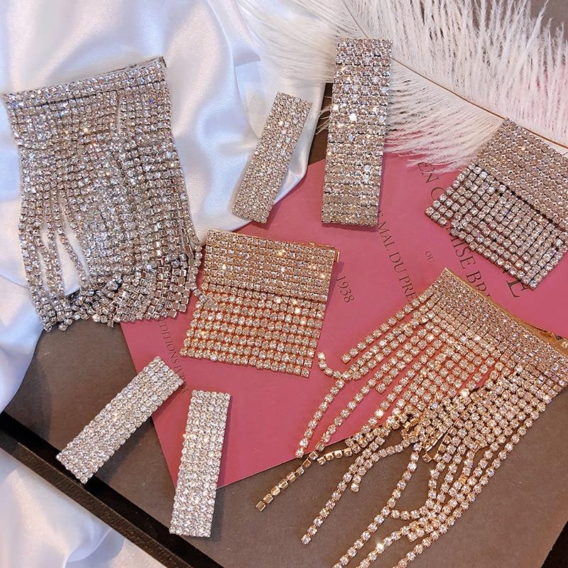 HZ 2019 New Korean Rhinestone Tassel Hair Ornament Elegant Hair Clips Long Drop Hair Accessories For Women Lady Party
