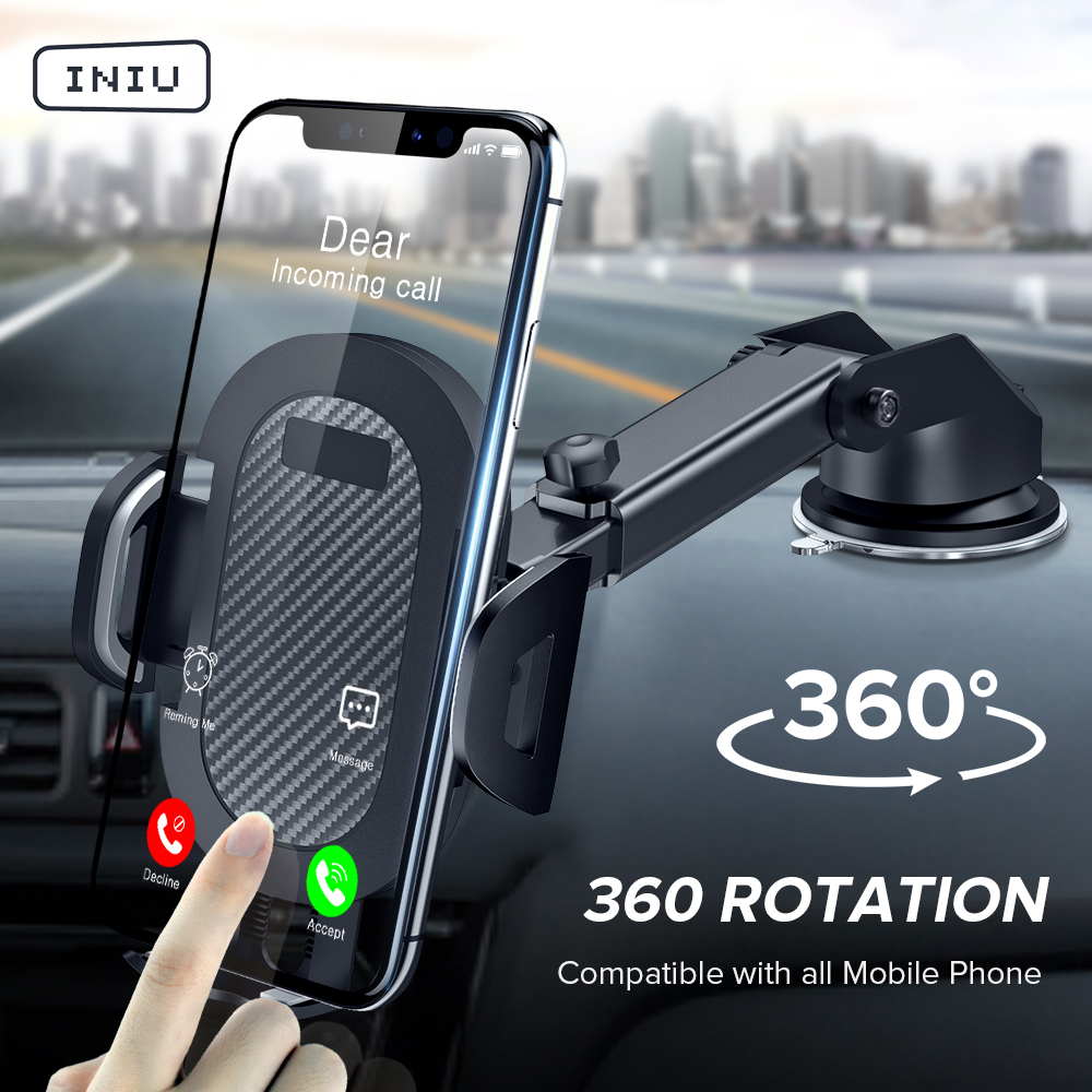 INIU Car-Phone-Holder Support Sucker Car-Stand Mobile-Cell Cellphone 360-Mount Xiaomi