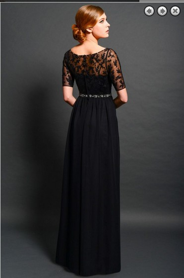 free shipping maxi elegant dresses 2016 new fashion vestidos formales long beaded lace black evening gowns dresses with sleeve