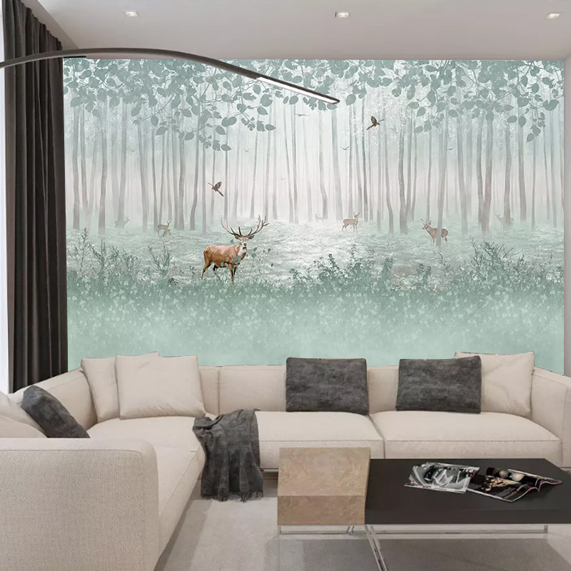 Northern European-Style Woods Modern Minimalist Wallpaper Hand-Painted Sika Deer TV Background Wallpaper Living Room Bedroom TV