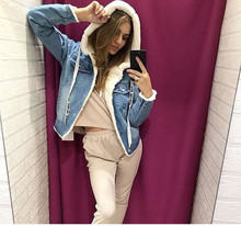 INITIALDREAM 2019 New Velvet Thick Denim Jacket Outerwear Hooded Single Breasted Winter Warm Women Denim Coat Casual Clothing initialdream new thick velvet denim jacket outerwear 2019 winter warm women zipper jean jacket coat casual clothing