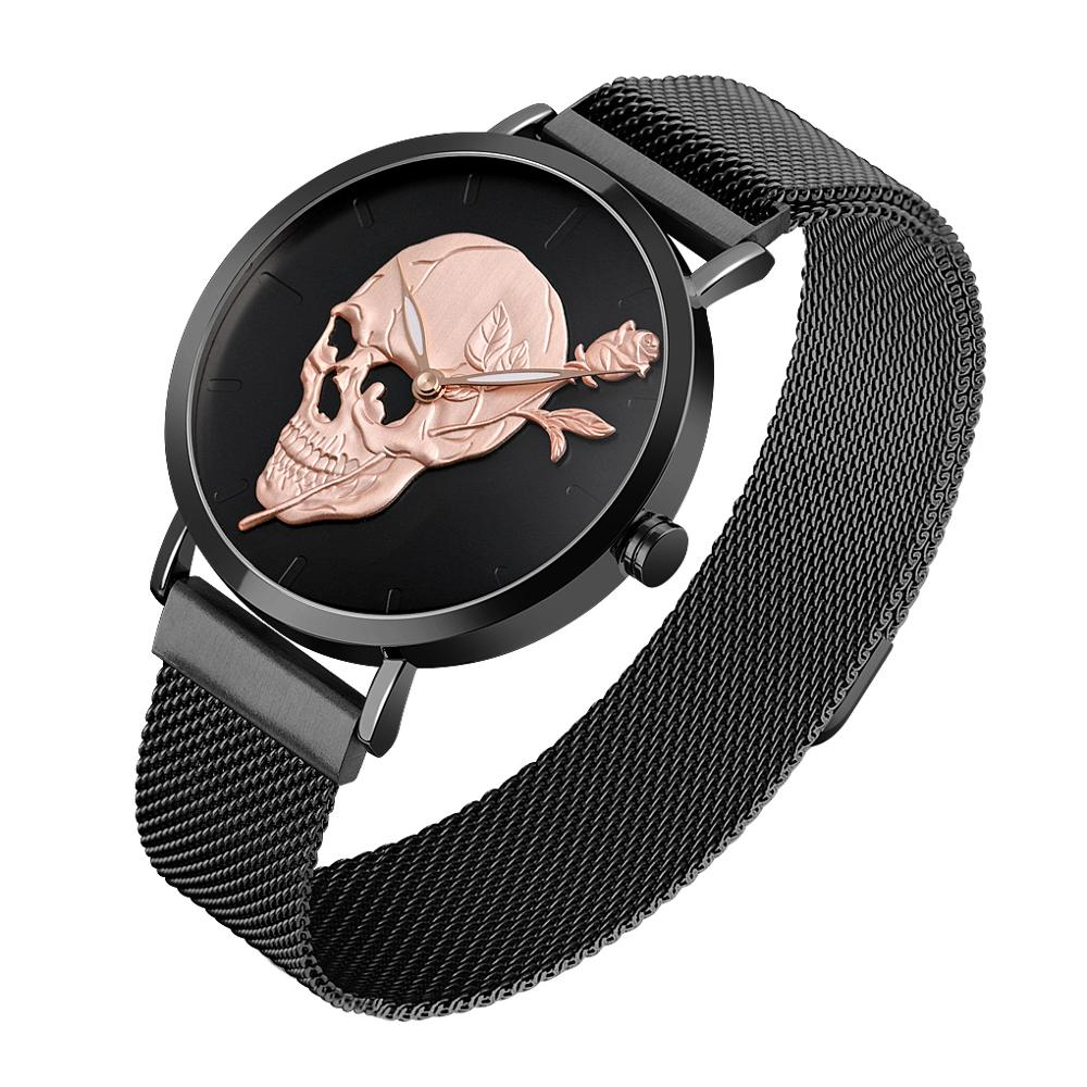SKMEI Men's Quartz Watch Skull Men Steel Mesh Belt Skeleton Watches Male Clock Waterproof Wristwatch Luminous Relogio Masculino