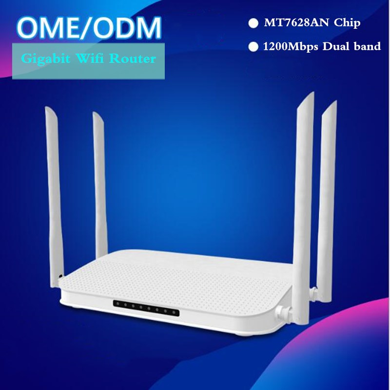 Wi-fi Gigabit Router 1200Mbps Dual Band 2.4G 5G Wifi Repeater 100M Ports 5*4 Dbi Gain Antenna 1GHz CPU AP Mode