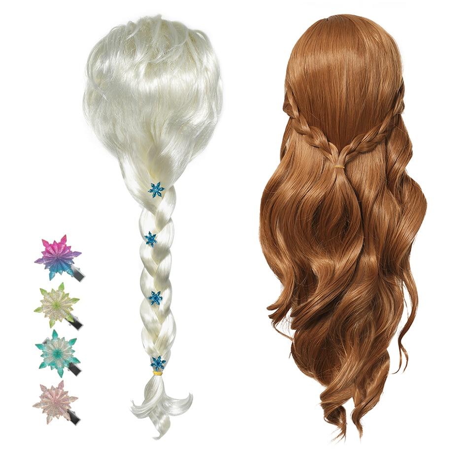 New Anna Elsa 2 Wig Princess Hair Bands Girls Party Fancy Accessories Princess Braid Headwear Christmas Hair Clips Kids Jewelry