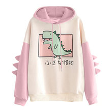 Dinossauro oversized cartoon hoodie feminino moda feminina moletom casual impressão estilo coreano roupas para moletom