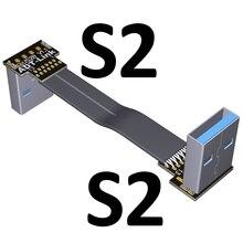 USB Dây Ruy Băng Phẳng EMI Che Chắn FPC Cáp Nối Dài USB 3.0 90 Độ Kết Nối Lên Và Xuống Dưới 5 Cm 3 M Chiều Dài Tùy Biến