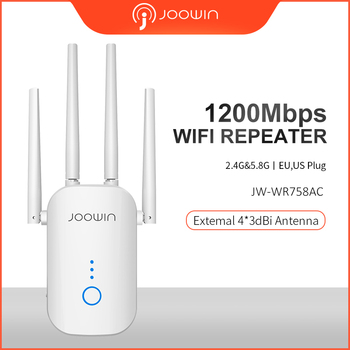Joowin AC1200 2.4G&5.8G DUAL band 1200Mbps Wifi Repeater Wifi Extender repetidor with 4 external antennas Long range JW-WR758AC