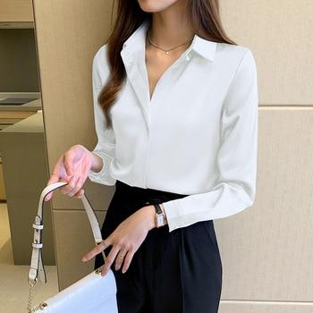 Silk Shirts Women White Shirt Women Long Sleeve Shirts Blouse Office Lady Satin Silk Blouse Tops Plus Size Woman Basic Shirt Top 4