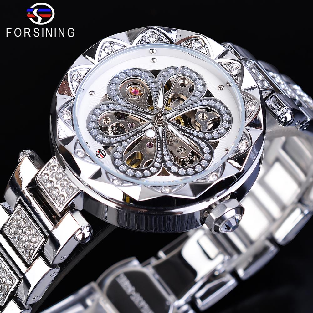 Forsining Women Watch Top Brand Luxury Diamond Female Mechanical Automatic Watches Stainless Steel Fashion Casual Ladies Clock