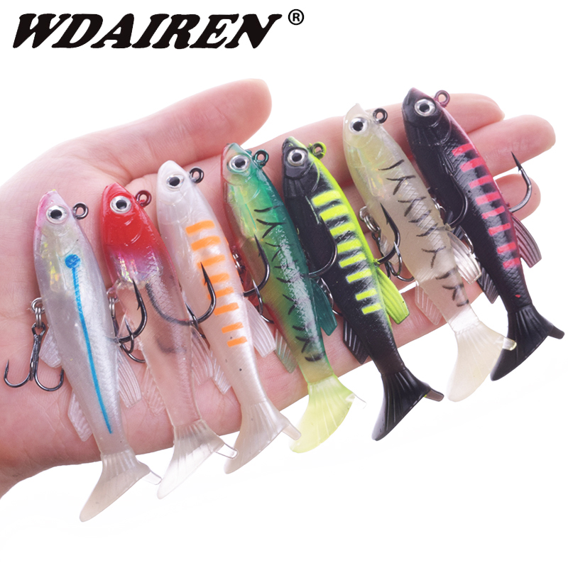 WDAIREN 7.5cm 11.5g Soft Bait Jig Wobblers Fishing Lure With Lead Head Fish Swimbait Treble Hook Fishhook Fishing Tackle WD-607