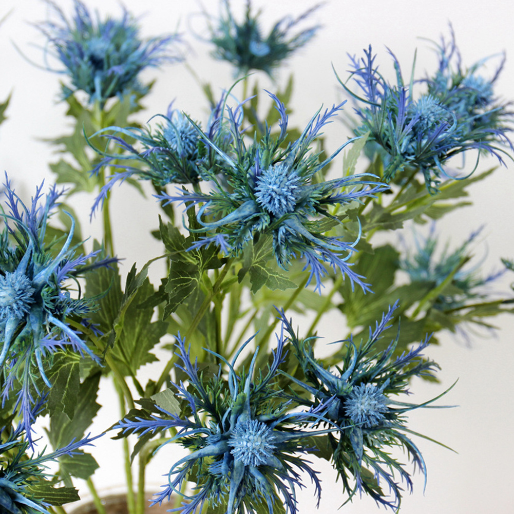 3-Fork Artificial Eryngo Thistles Bunch Simulation Flowers Plants For Home Decor Centerpieces Light Blue 1PC