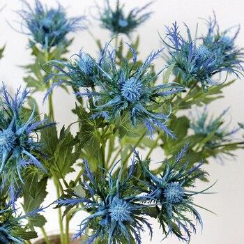 3-gabel Künstliche Eryngo Disteln Haufen Simulation Blumen Pflanzen für Home Decor Mittelstücke Licht Blau 1PC
