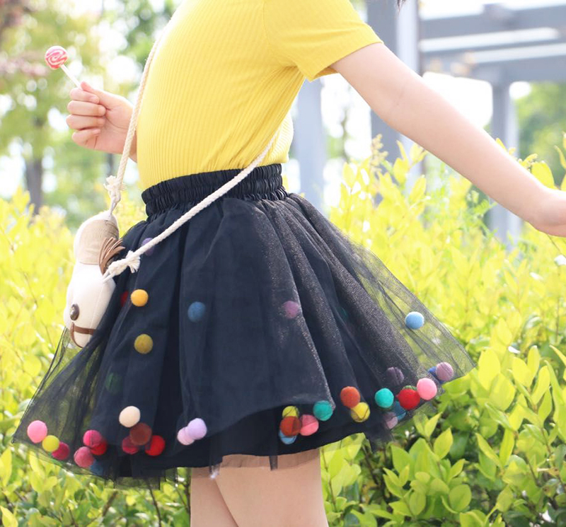 2020 Summer Baby Multilayer Tulle Tutu Skirt Colorful Pom Pom Princess Mini Dress Children Clothing Pettiskirt Girl Clothes