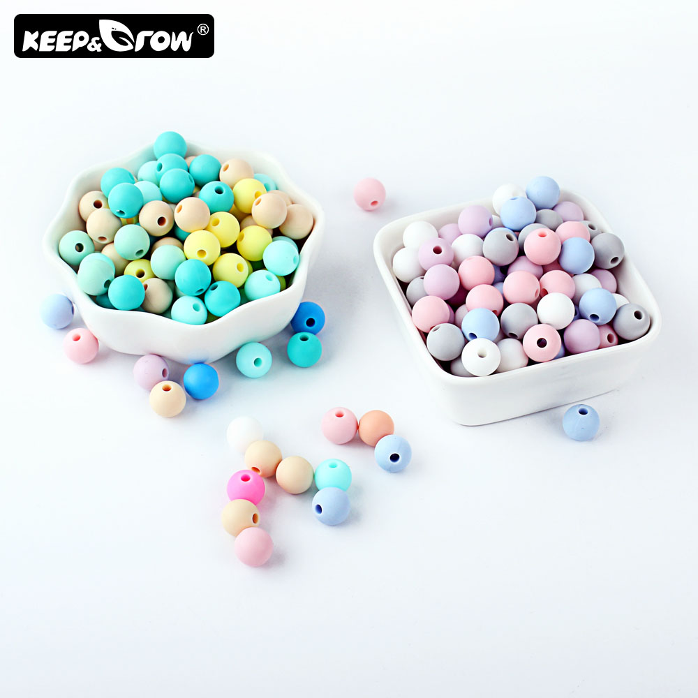 Keep&Grow 100pcs Round Silicone Beads 9mm Pearl Silicone Teething Toys Baby Teether Beads DIY Jewelry Making Pacifier Chain