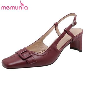 MEMUNIA 2020 new arrival women sandals genuine leather shoes square toe buckle fashion dress party shoes ladies summer sandals