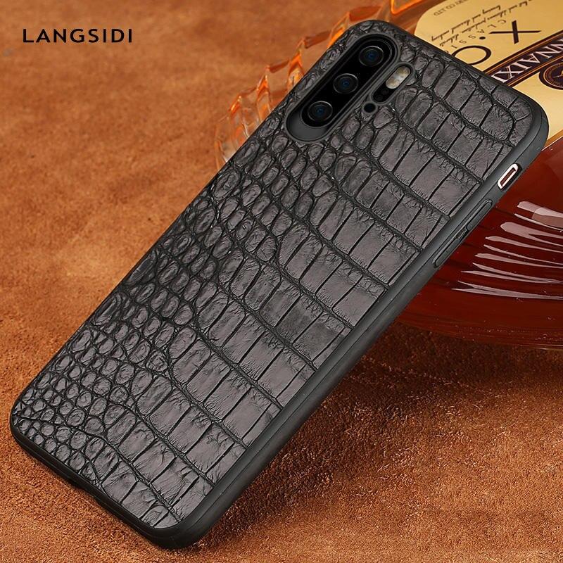 Étui pour huawei en cuir naturel Crocodile de luxe p30 pro p20 Lite Mate 20 coque de téléphone portable pour Honor 8x20 20 Pro
