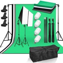 Fotografia foto estúdio luz kit 50*70cm softbox 4x25w lâmpada led com sistema de apoio pano de fundo 4 pano de fundo para fotografar