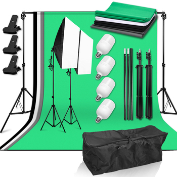 Photography Photo Studio Light Kit 50*70cm Softbox 4x25W LED Bulb with Backdrop Support System 4 Backdrop for Shoot Photography 2pcs 50x70cm photography softbox lighting kit 4pcs 25w led bulb professional continuous light system softbox for photo studio