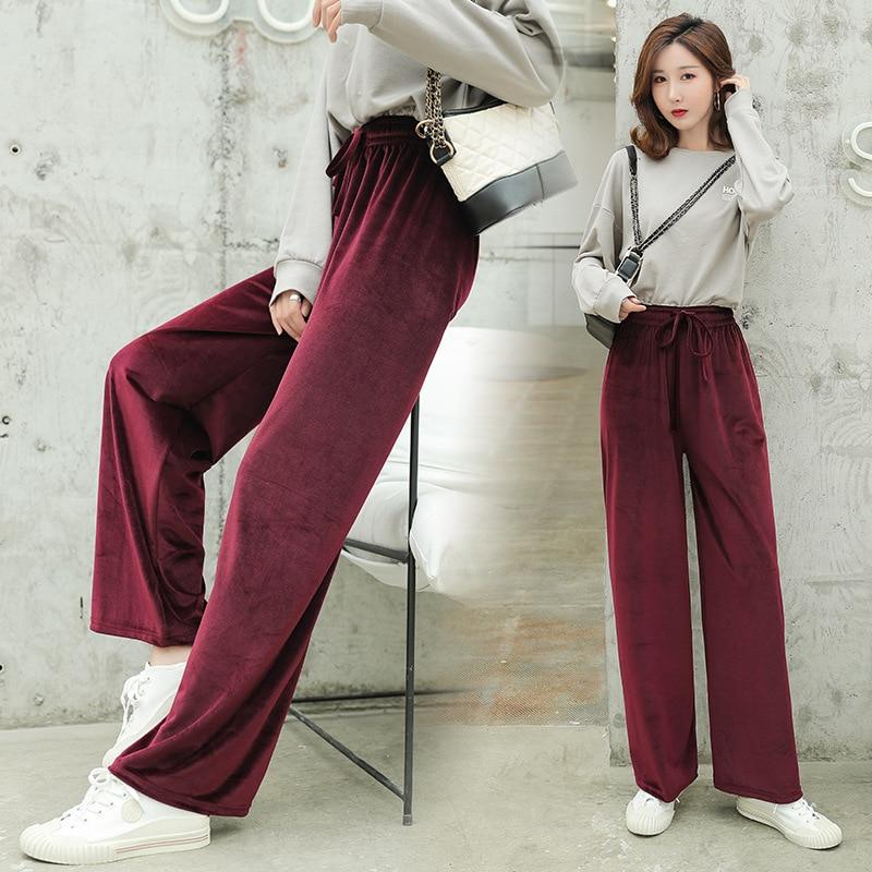 Pleuche Pants Autumn New 2019 Women Pants Gold Velvet Pants Winter Floor Length Casual Trousers High Waist Loose Wide Leg Pants