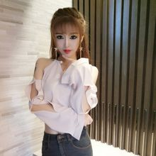Sweater Women's WOMEN'S T-shirt High Quality Spring New Products Nightclub Dress Sexy off-Shoulder Small Woman Pearl Neck Ring H(China)