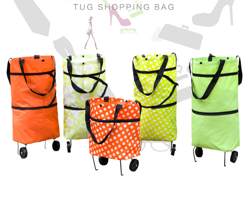 Folding Shopping Bag Collapsible Shopping Trolly Tugboat Shopping Cart reusable shopping bag Large Capacity Bag with Wheels