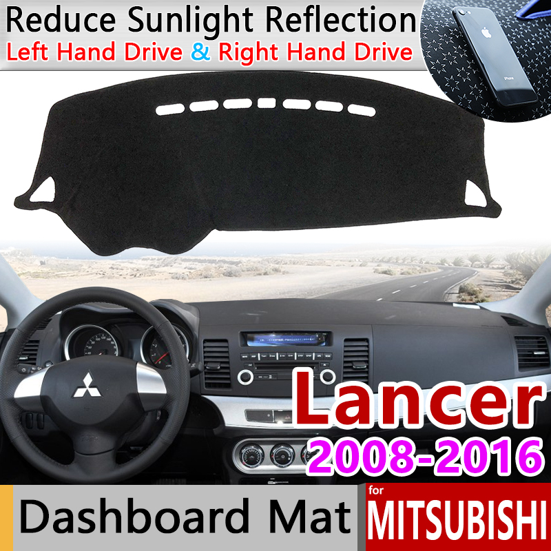 for Mitsubishi Lancer 2008 2016 Ralliart EVO X Galant Fortis EX Avoid light Mat Dashboard Cover Pad Sunshade Carpet Accessories