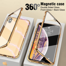 Luxury Double sided glass Magnetic Adsorption Metal Phone Case For iPhone X XS XR XS Max 8 7 6 6S Plus Cover 360 Full Protection 360 full magnetic protection shell for iphone anti peep case metal frame double sided tempered glass for xs max 7 8 x xs xr