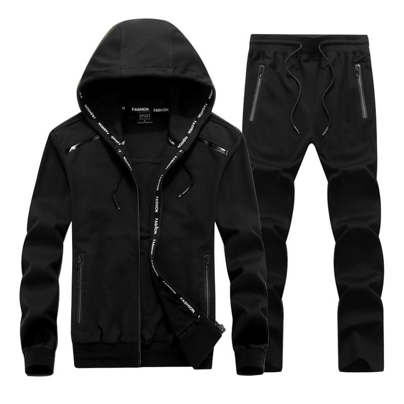 Fashion Sports Suit Men's Large Size Sportswear Casual Suit 2019 Spring Autumn Men Hoodie Jacket And Sweat Pants 6xl 7xl 8xl 9xl