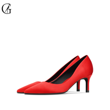 Купить с кэшбэком GOXEOU 2019 Spring Autumn Women Pumps Elegant Rhinestone Silk Satin High Heels 6CM Shoes Sexy Thin Pointed Single Shoes size -46