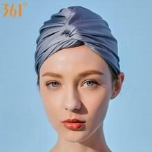 361 Swim Caps for Women Elegant Pleated Long Hair Swimming Cap Ear Protection Accessories