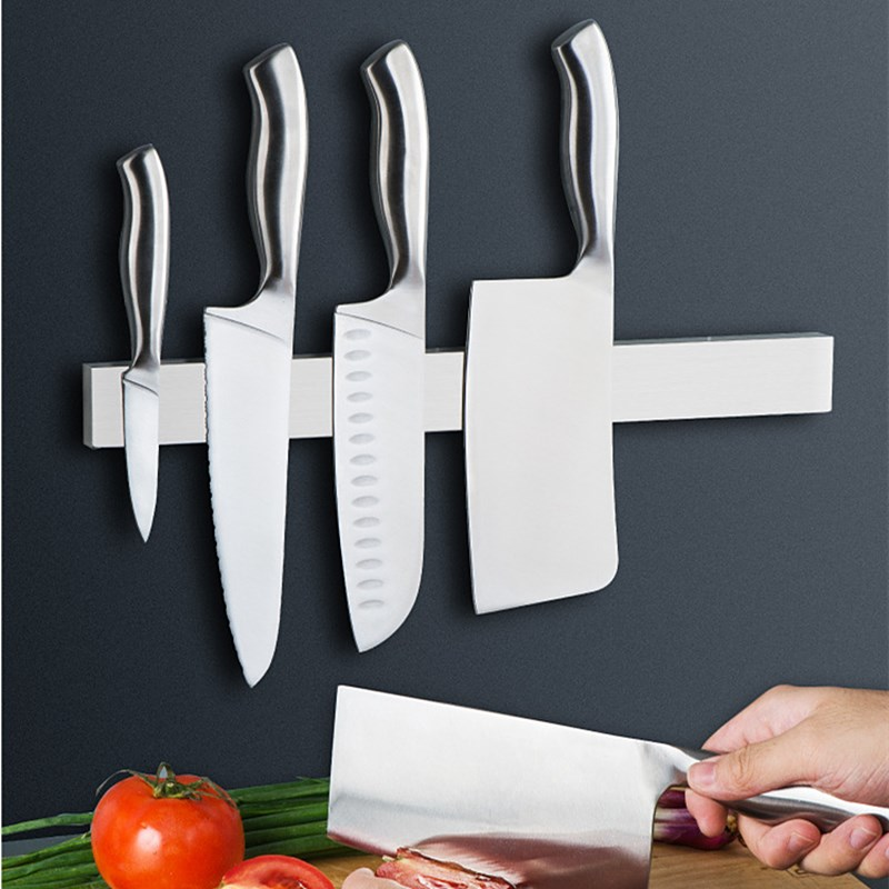 304 Stainless Steel Wall Mounted Magnetic Knife Holder Magnet Kitchen Utensil Rack Chef Knives Storage Organizer Accessories
