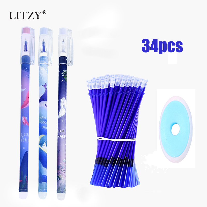 34pcs/lot Erasable Gel Pen Set 0.5mm Black/Blue Ink Full Needle Erasable Pen School Office Writing Tool Cute Stationery Supplies
