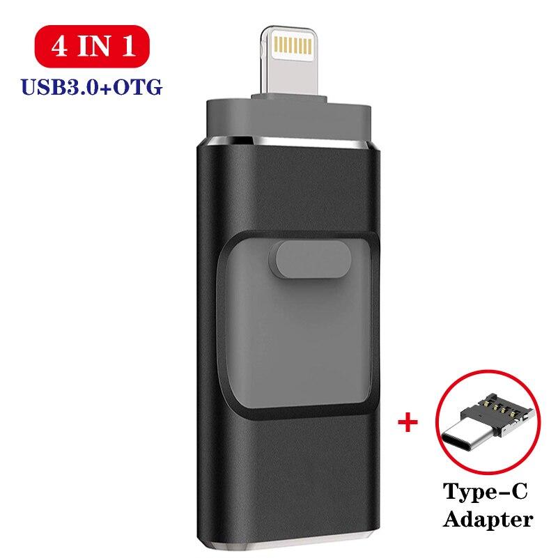 4 em 1 vara 3.0 do flash de hd usb para o iphone/android tipo c usb chave otg pendrive 128 gb 64 32 gb 16 gb mini movimentação da pena