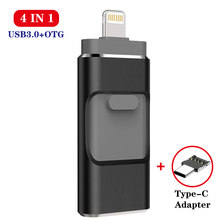 4 em 1 vara 3.0 do flash de hd usb para o iphone/android tipo c usb chave otg pendrive 128 gb 64 32 gb 16gb mini movimentação da pena