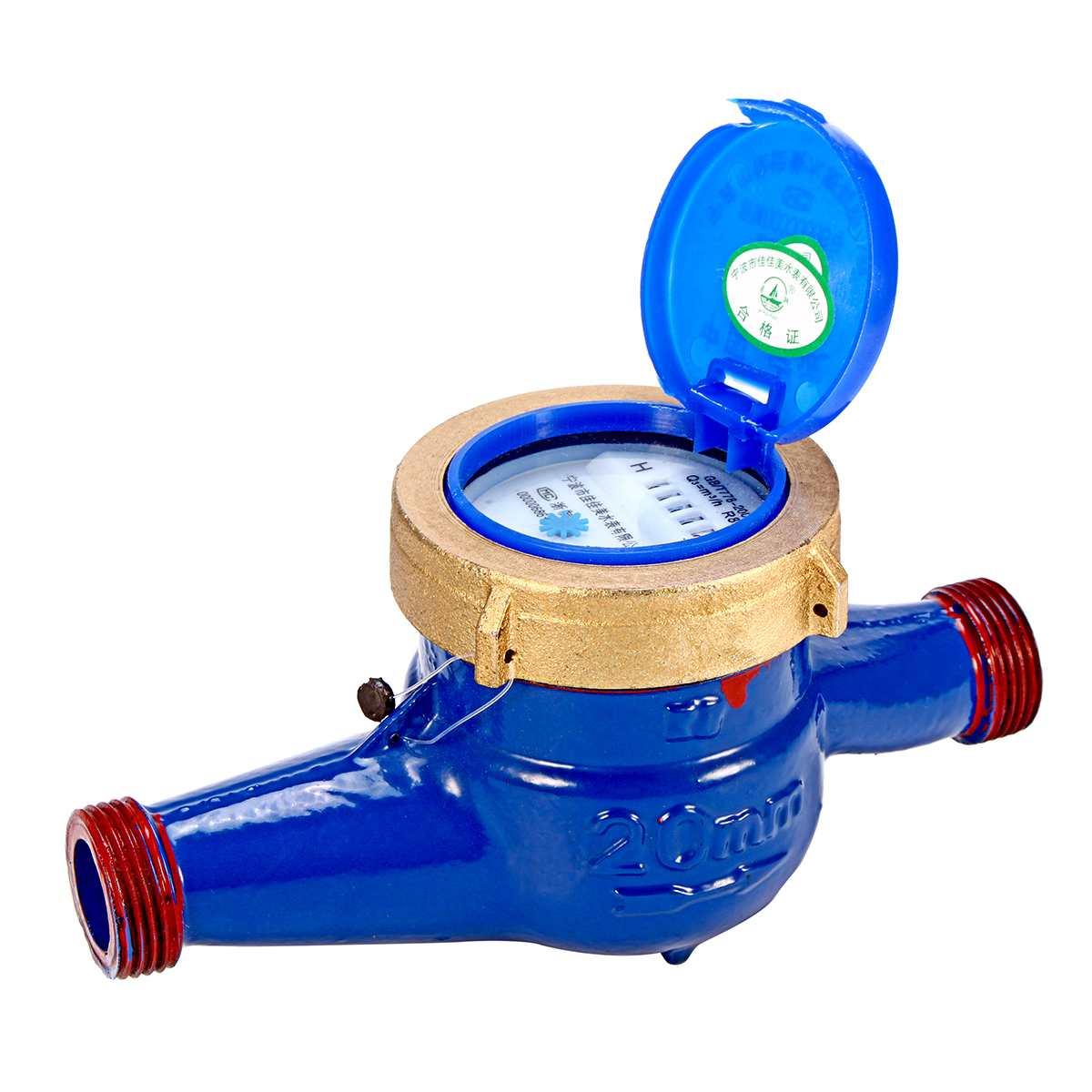 Water Meter Heavy Duty Brass Flow Measure Tap Cold Water Meter Home Garden Wet Table Measuring Tools Water Measurement 20mm