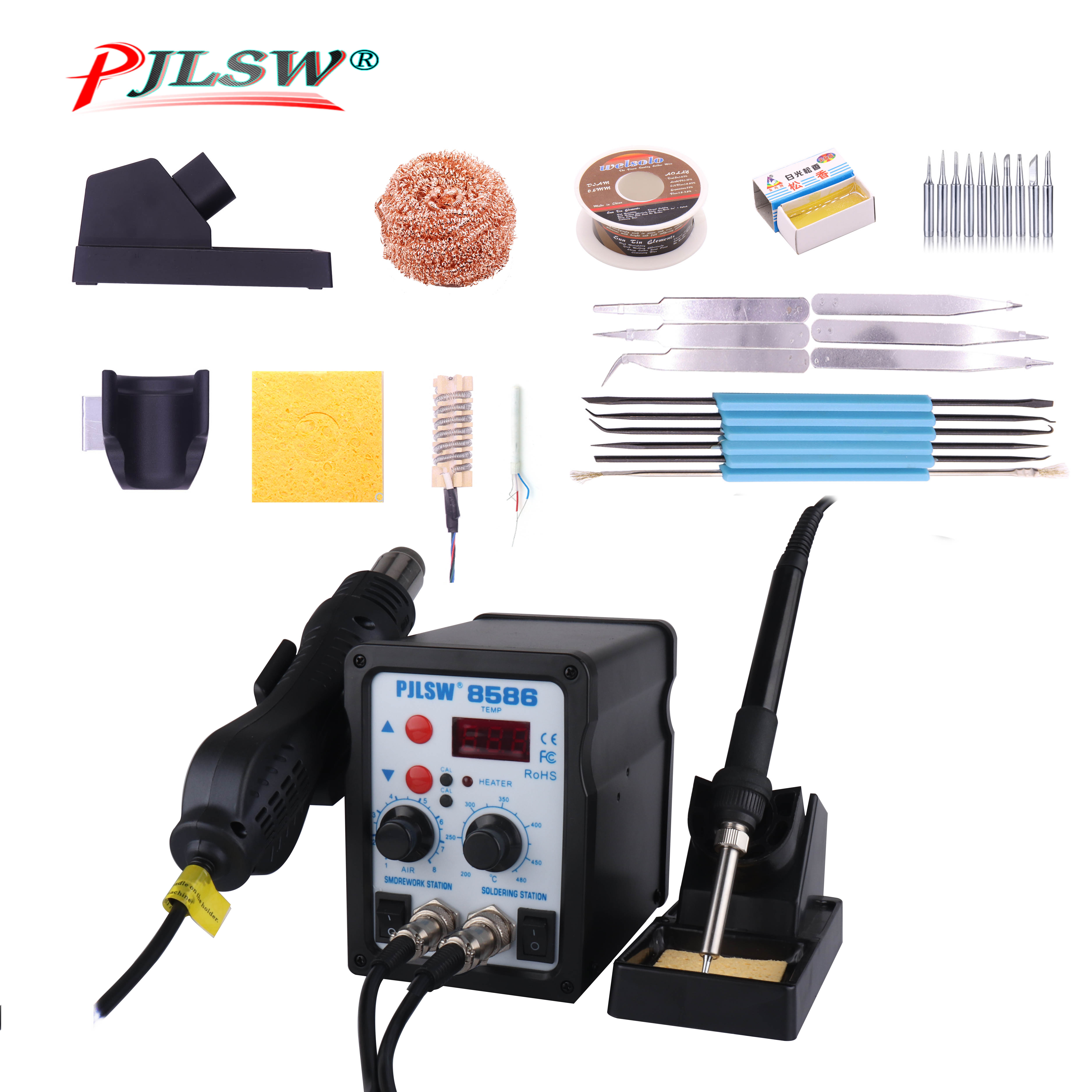 PJLSW  700W Double Digital Display Electric Soldering Irons +Hot Air Gun Better SMD Rework Station Upgraded 8586