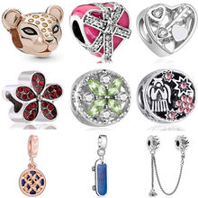 High Quality Crystal Enamel Tiger Bow Skateboard Doll Safety Chain Beads Fit Pandora Charms Bracelets for Women Making Jewelry(China)