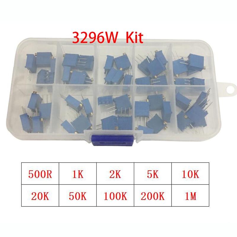 50 шт./лот 3296 Вт многооборотный триммер, комплект потенциометра, Высокоточный 3296 переменный резистор 1K 2K 5K 10K 20K 50K 100K 200K 500K 1M