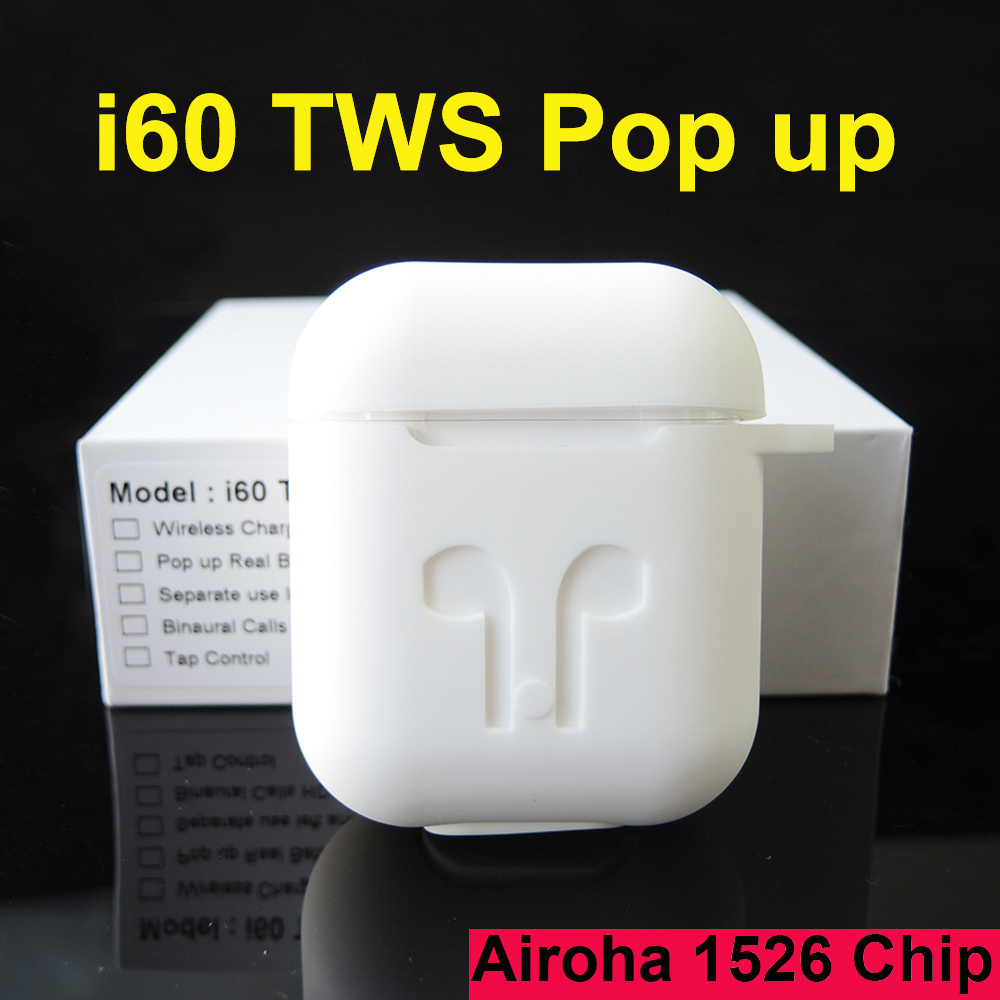 I60 TWS Pop Up Wireless Bluetooth Earphone Separate Use QI Wireless Charging Case Bass Earphones PK I30 I100 I200 I500 I10 TWS