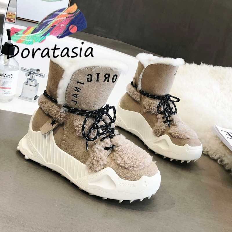 DORATASIA New Brand Ladies Winter non-slip Split Leather Snow Boots Women 2020 High Platform Fur Boots Warm Wedges Shoes Woman