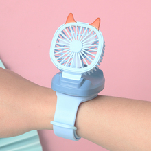 USB Mini Watch Fan Portable Three Gear Speed Adjustment Folding Mute Wrist Fans Colorful Light Toy Children Gift for Home Travel