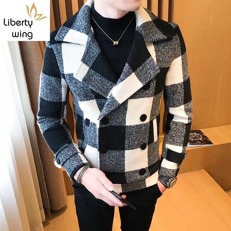 Fashion Plaid Double Breasted Mens Woolen Short Coats Korean Autumn New Long Sleeve Lapel Slim Male Outerwear Jackets Plus Size