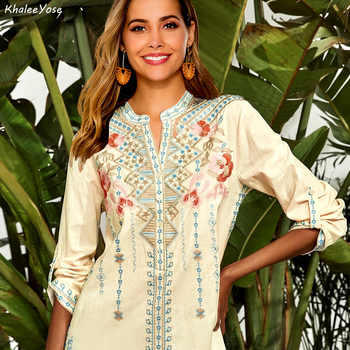 Ethnic Boho Style,  Vintage Floral Embroidery Blouse Mexican Shirts Style With Long Sleeves Hippie Tops 1