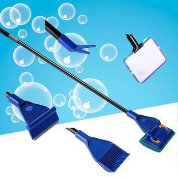 Herramientas de limpieza para acuarios, tanque de acuario, juego de rastrillo rojo...