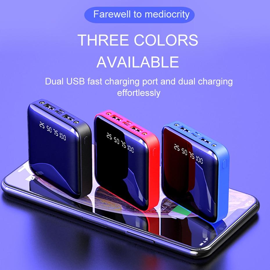 PINZHENG Mini Portable 10000mAh Power Bank For Xiaomi Mi With LED Digital Display 10