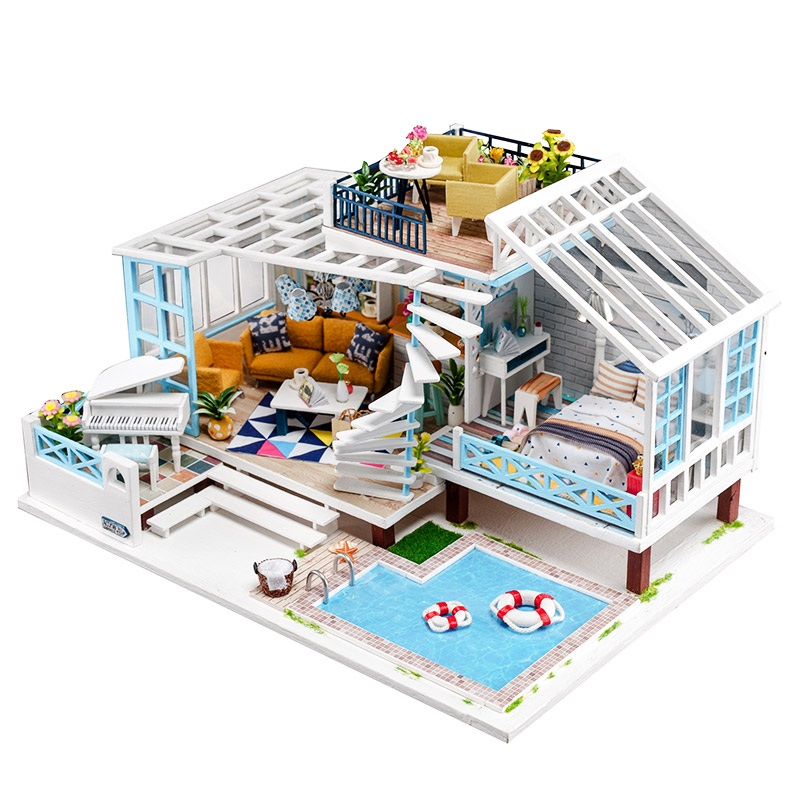 New Doll house Kit Big Size Wooden Fashion Dollhouse Furniture with Swimming pool Handmade DIY Toys for Children Kids Gift
