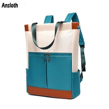 Ansloth Quality Canvas Backpack Women Hit Color Backpack Ladies Large Capacity School Bag Famale Travel Bag Student Bag HPS806