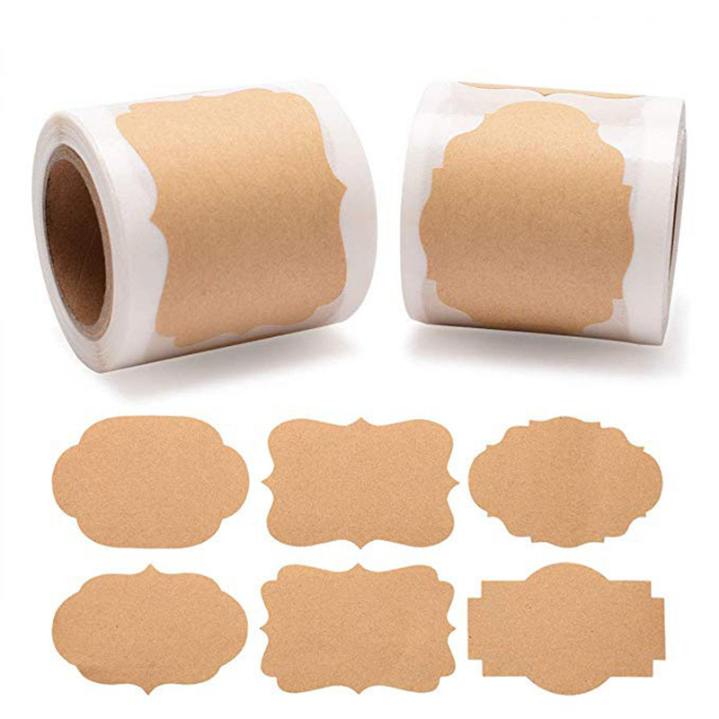 300 Piece 2 Types Natural Kraft Paper Stickers Blank Writable Seal Labels Mason Jar Glass Bottle Cake Baking Stationery Sticker